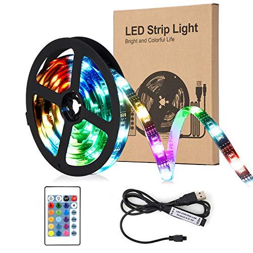 SUNNEST LED-Strip 2M - [4 Pack * 0,5 m] LED-Streifen Lichtband 60 LEDs 5050 RGB LED-Lichtstreifen Flexible mehrfarbige Dekoration mit Fernbedienung und USB-Kabel