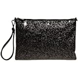 Caspar TA341 Bolso de Mano Fiesta XL para Mujer Clutch Brillante con Lentejuelas, Color:negro, Talla:Talla Única
