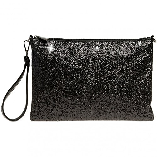 Caspar TA341 große Damen XL Glitzer Pailletten Clutch Tasche Abendtasche mit Handschlaufe, Farbe:schwarz, Größe:One Size