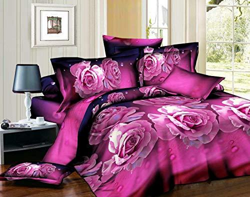 Zara's 3D-Bettwäsche-Set mit violetten Rosen, Blumenmuster, Bettwäsche-Set mit Kissenbezügen und Spannbetttuch, für Doppel- und King-Size-Betten, grau, King Size