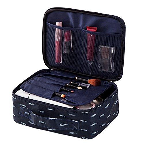 Luotuo Kosmetiktasche Reisen Tragbar Make-up Pinsel Toilettenartikel Aufbewahrungstasche Mini Große Kapazität Make-Up Taschen Cosmetic Bag Storage Bag Organizer (Marine B)