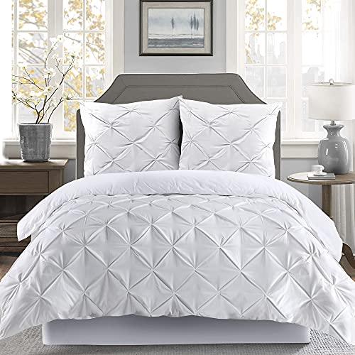 K&A Pintuck Pinch Pleat Bettbezug-Bettwäsche mit Kissenbezug 80x80 mit Reißverschluss, Pflegeleicht Maschinenwaschbar, Weiche Mikrofaser bettwaren und bettwäsche (Weiß, 200x200 cm)