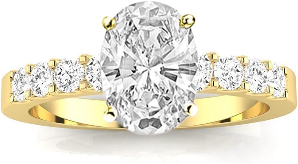 1.5 Ctw 14K White Max 63% OFF Gold Classic Prong GIA Set Oval Cert Cut Max 79% OFF Round