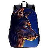HQHSC Sac à dos d'école, sacs à livres Fantasy wolf Cool Bookbag Sacs à dos imprimés en 3D Sac d'école de mode Adulte Enfants Voyage scolaire 17 pouces