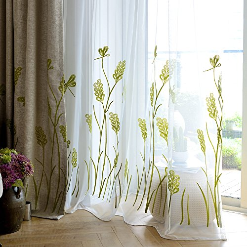 Melodieux Wheat Embroidery Sheer Curtain for Living Room Patio Sliding Door Wide Window Rod Pocket Voile Drape, White/Green, 100 by 84 Inch (1 Panel)