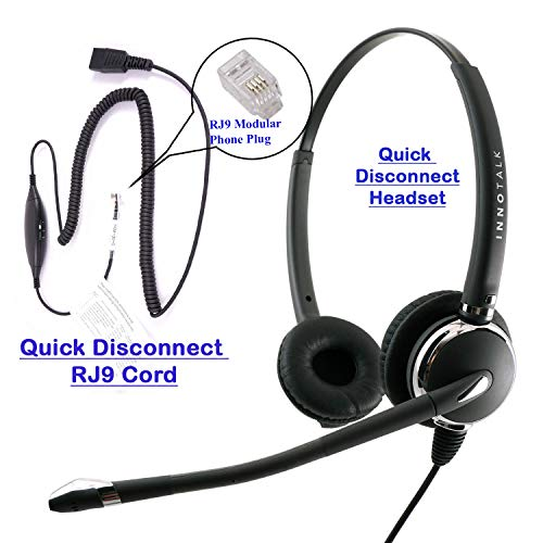 %22 OFF! RJ9 Headset - Deluxe Pro Binaural Headset + 8 Selection Switches RJ9 Headset Adapter for An...