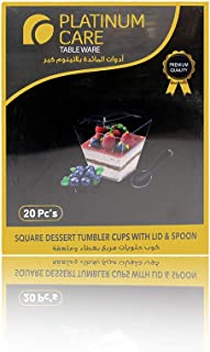 Platinum Care Dessert Tumbler Cups with Lid and Spoon - 20 Pieces