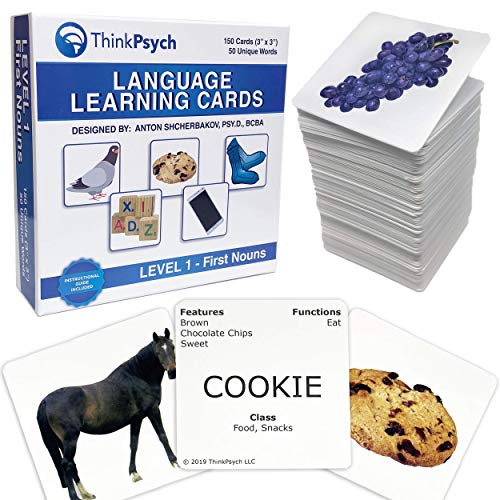 THINKPSYCH Flash Cards for Toddlers 2-4 Years Old. 150 Educational Flashcards: Animals Food & Household. Baby & Toddler Approved. Great Picture Cards for Speech Therapy & Autism Learning Materials