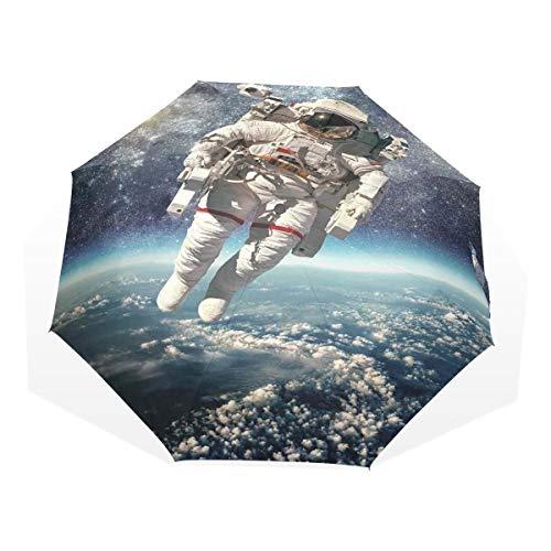 LASINSU Regenschirm,Astronaut Floats Outer Space Mit Planet Erde Globus Surreal Gravity Image,Faltbar Kompakt Sonnenschirm UV-Schutz Winddicht Regenschirm