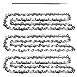 AR-PRO 3 Pack 20-Inch Chainsaw Chain with Bonus Sharpening File; Heavy Duty Carbon Steel Chains Fit Most Major Chainsaw Brands; for Commercial, Professional and Home Use | Cuts Like Butter
