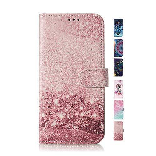 UCool Cover Custodia Apple iPhone 5 5S SE Caso Flip Portafoglio a Libro Pelle PU Belle Marmo Oro Rosa 3D Disegni Bumper Protettiva Antiurto