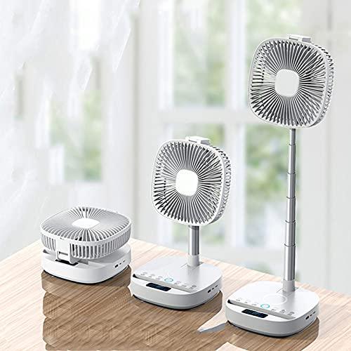 ACEMIC Ventilador Vertical Plegable,Ventilador De Pie Silencioso con Mando Ventilador De Mesa Función 8 en 1 Pantalla LCD LED con Altavoz Bluetooth Batería 10000Mah Alimentado por USB,Blanco