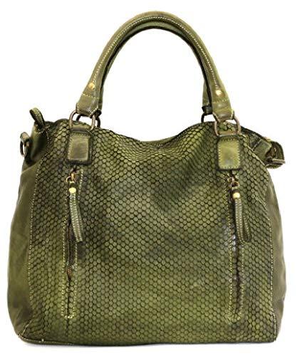 BZNA Bag Eva grün verde Italy Designer Damen Ledertasche Handtasche Schultertasche Tasche Leder Beutel Neu