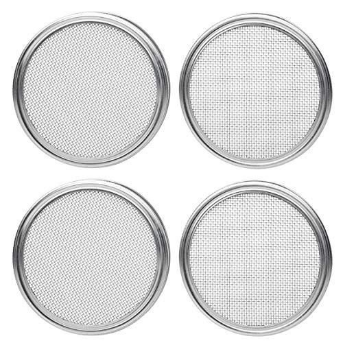 DealMux Tapas de brotación de acero inoxidable para tarros de albañil de boca ancha - Tapas de tamiz para preservar tarros y pantalla de germinación de semillas - 4 piezas