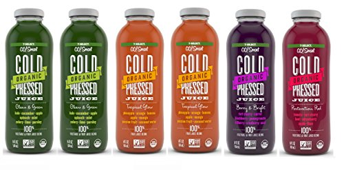 7-Select Organic Cold Pressed Juice - Variety Pack (14 Oz Glass Bottles, 6-Pack)