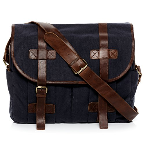 SID & VAIN Messenger Bag echt canvas & lederen Chase groot laptoptas 15 inch laptop schoudertas blauw