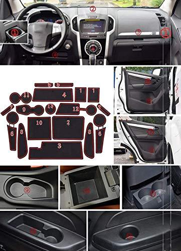 for Isuzu MU-X 15-17 Custom Gate Slot Pad Cup Holder Pads Door Groove Mat Center Organizer Storage Box Non-Slip Silica Liner 20pcs Red
