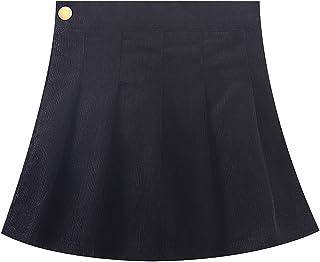 تنانير WELAKEN مصنوعة من قماش مخملي مضلع للبنات الصغار والأطفال 2 أزياء أسفل تنورة ضيقة قصيرة للفتيات الصغار