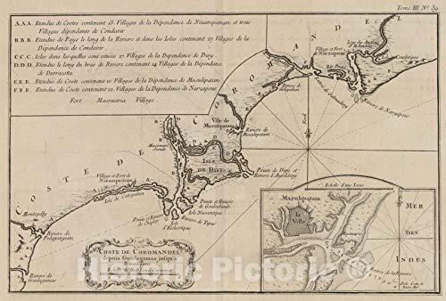 Historic Wall Map : India, Asia 1764 Coste de Coromandel Depuis Gondagamas jusqu'a Narzapour, Vintage Wall Art : 65in x 44in