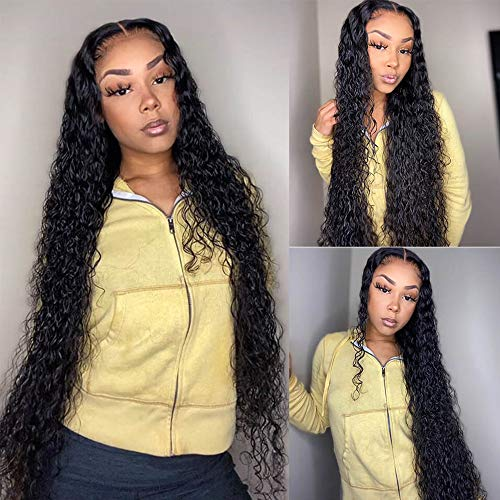 HD-Transparent 12A 30 Inch Lace Front Wigs Human Hair Water Wave 100% Unprocessed Brazilian Virgin Hair Wigs With Baby Hair For Black Women Glueless Lace Front Human Hair Wigs 150% Density Wigs (30,13x4 water wave )