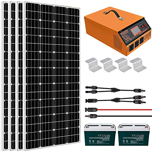ECO-WORTHY 800W 3KWH Day Solar Panel Kit with Battery and All-in-ONE Inverter Complete Solar Power System Kit Off Grid for Home, House, RV, 24V Battery