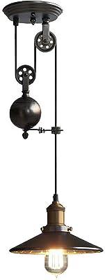NIUYAO Lampada a Sospensione Stile Industriale Retro 1 luci Lampadari Regolabile-Nero