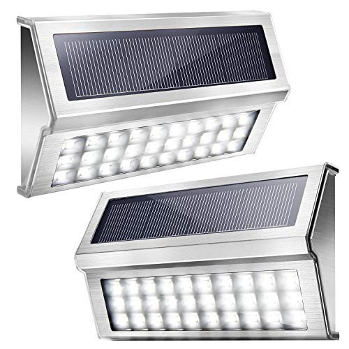 Upgraded 30 LED Solar Step Lights JACKYLED Outdoor Solar Stair Lights Waterproof Solar Powered Deck Lights Stainless Steel Cool White Light Security Lights for Path Fence Patio Wall Dock 2-Pack