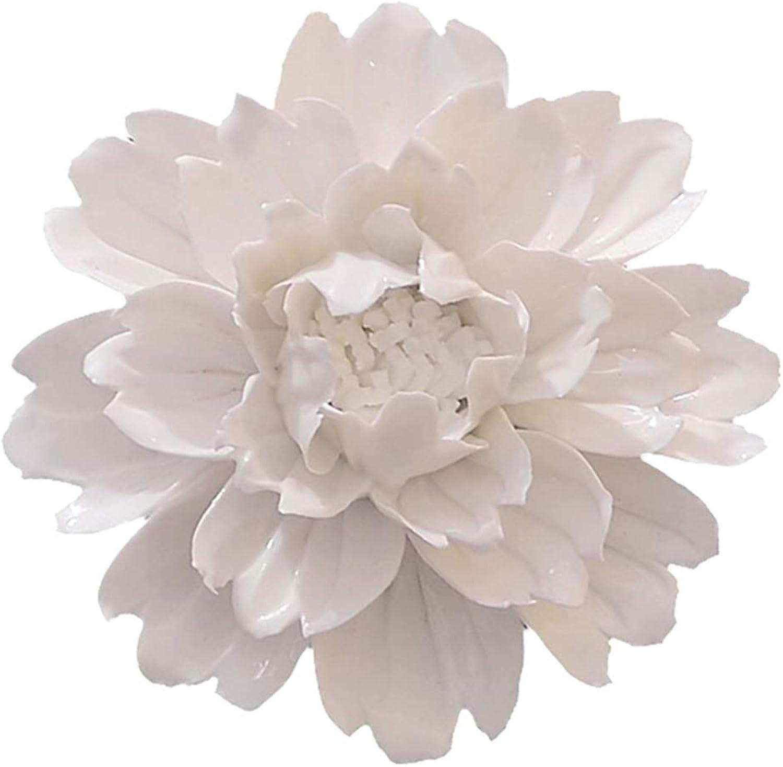 ALYCASO Handmade Decorative Ceramic Flowers 3D Wall Decor Hanging Room Decoration Art (XXL- 7 in, Peony White)
