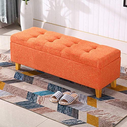 FFZW Storage Benches Rest Stool Clothing Store Long Storage Stool Shoe Store Shoe Change Stool|Storage Box Home Sofa Stool Bedroom Bed End Stool (Color : Orange, Size : L100×H42×W40cm)