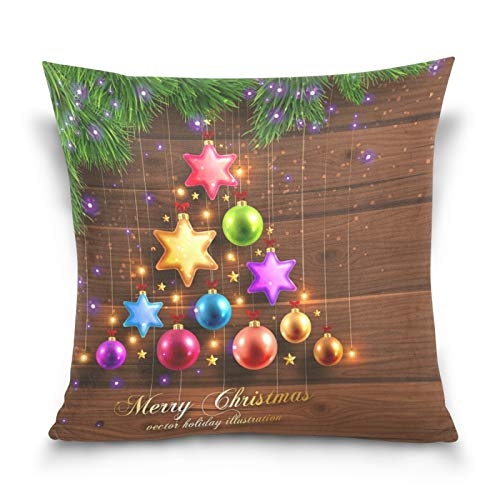 Ahomy Throw Pillow Cases Christmas Balls Decoration Star 45cm x 45cm Square Cushion Cover for Sofa Bedroom Livingroom Car, with Invisible Zipper