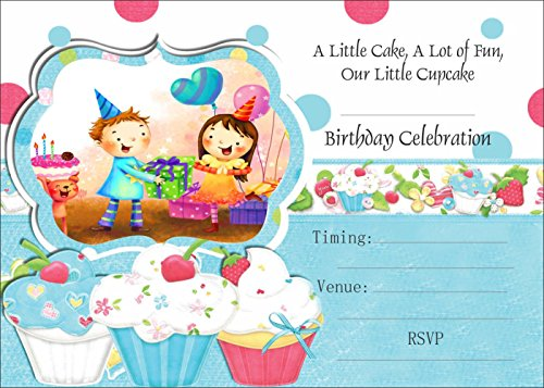 Askprints Birthday Metallic Card Invitations with Envelopes - Kids Birthday Party Invitations for Boys or Girls (25 Count) BIC-503