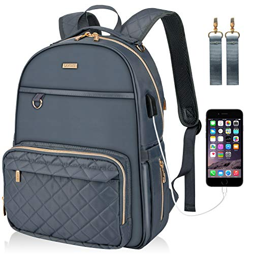 Landici Baby Changing Bag Backpack, Large Capacity Diaper Bag Multi-Function Maternity Rucksack Nappy Bag with Changing Mat&Stroller Strap&USB Charging Port for Mom & Women-Grey