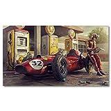 Pintura al óleo Póster de coche Vintage Ferraris Classic Racing F1 Race Car obra de arte de pared cuadro impreso lienzo pintura para decoración de sala de estar del hogar 60x90cm
