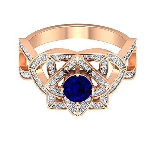 Anillo solitario de zafiro azul de 3/4 quilates, anillo de diamante HI-SI de 1/2 quilates, anillo de flor de oro (5 mm de zafiro azul con forma redonda), 14K Oro rosa, Size:EU 49