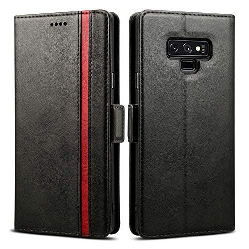 Rssviss Coque pour Samsung Galaxy Note 9, Housse Galaxy Note 9 en Cuir PU, 4 Emplacements Cartes et Monnaie avec Fermeture Magnétique Protection Samsung Note 9 Etui Pochette Rabat 6,4 Pouces Noir