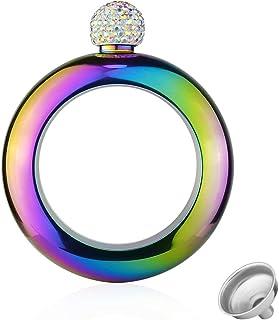 Bangle Flask Bracelet, GIGRIN Stainless Steel Alcohol Wine Flask Hidden with Crystal Lid Funnel, Secret Liquor Flask for Men Women Dance Birthday Party Club Bar, 3.5oz (Rainbow)