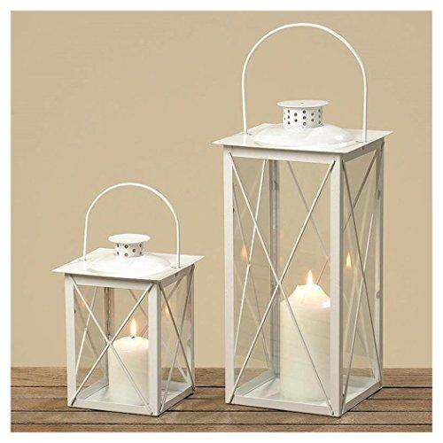 Laterne Windlicht Farol Weiss Höhe ca 20 cm Glas montiert - ohne Kerze Landhaus