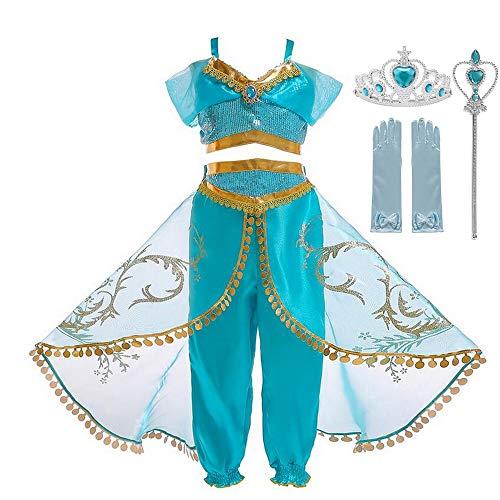 Disfraz de princesa rabe con lentejuelas, vestido de princesa para cumpleaos, Halloween, disfraz de cosplay para nios (dos piezas + corona, 4-5 aos)