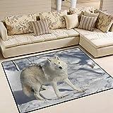 #Teppich #Wolf #weiss #Schnee #Polarwolf #Wohnzimmer  #Schlafzimmer 63x48 Inch (ca. 160x122 cm)  oder 80x58 Inch  (ca. 203x147  cm)