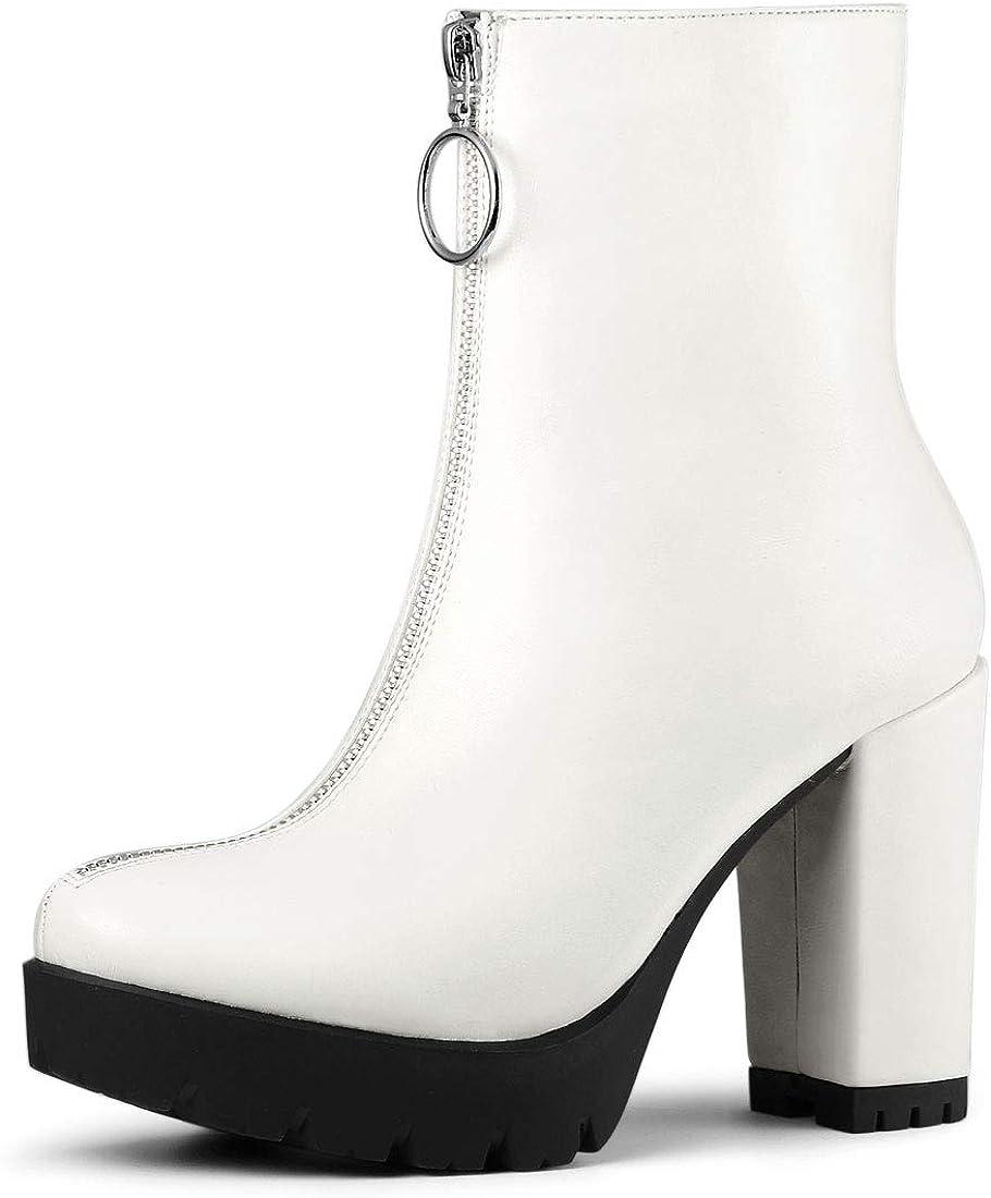 Allegra K Women's Platform Cheap sale Cheap SALE Start Front Boots Ankle Zip Chunky Heel