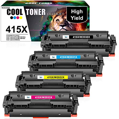 Cool Toner Kompatibel Tonerkartusche als Ersatz für HP 415X 415A W2030X W2030A HP Color Laserjet Pro MFP M479fdw M479fdn M479dw M454dw M479fnw M454dn M479 M454 (Schwarz,Cyan,Gelb,Magenta, 4er-Pack)