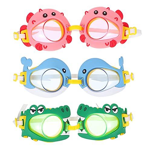 ifundom 3 Piezas Gafas de Natación para Niños Gafas Impermeables de Animales de Dibujos Animados con Visión Clara Protección contra La Niebla UV sin Fugas Marco de Silicona Suave Y Correa