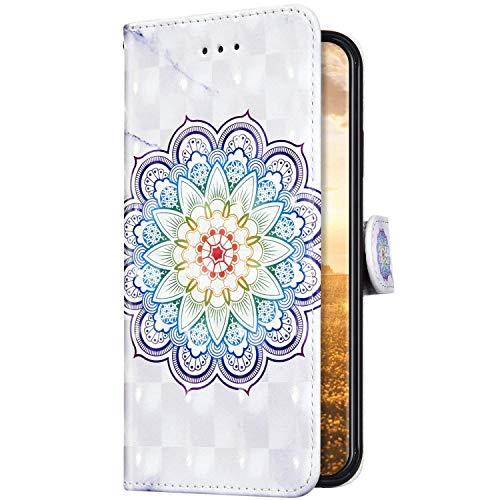 Uposao Kompatibel mit Samsung Galaxy A11 Hülle Leder Handyhülle Bunt Glänzend Bling Glitzer Klapphülle Flip Case Schutzhülle Brieftasche Wallet Ledertasche Kartenfächer Magnet,Mandala Blumen