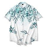 CHUIKUAJ Camisa Casual de Manga Corta para Hombre - Cárdigan Kimono Camisetas con Estampado de Flores Ropa de Calle Holgada de Verano S-6XL de Gran Tamaño,White-6XL