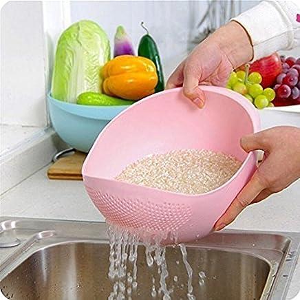 Ankur® Big Size Plastic Grains & Vegetables Washing Bowl & Strainer