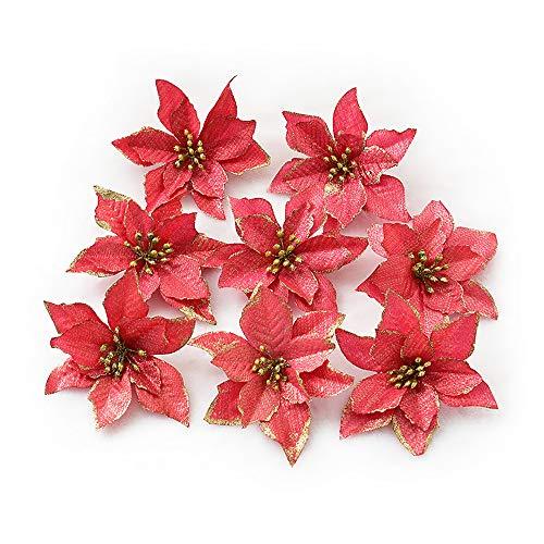 8pcs Glitter Poinsettia Christmas Flowers Artificial Flowers Wedding Glitter Christmas Tree New Year Ornaments Red
