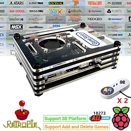 TAPDRA RetroPie Arcade Video Game Station with 18273 Games, Rasperry Pi Support Add and Delete Games, 128GB Fast Card Retro Orange Pi PC Gaming Kit, Plug and Play, HDMI USB Port (2 Gamepad Included)