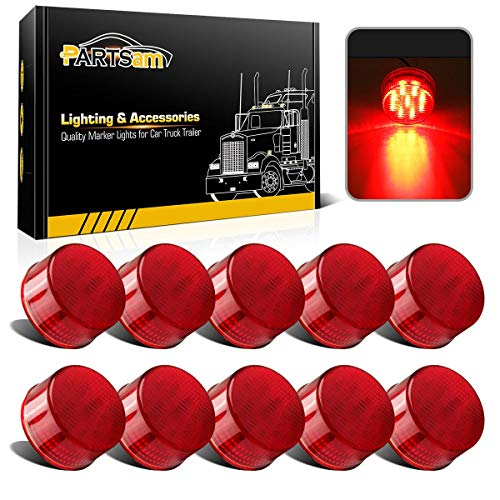 Partsam 10Pcs 2 Inch Round Led Marker Lights Red Trailer Truck Sealed Light, 2 Round led Trailer Lights Side Marker Clearance Lights Waterproof Cab Sleeper Panel Lights Red