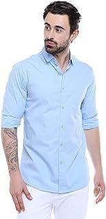 Garmend Mens Pure Cotton Casual Shirt Men Full Sleeves Fashion Multi Color (Sky Blue, X-Large)