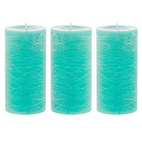 Unscented 3x6 Tall Pillar Candles – Set of 3 Hand Poured Turquoise Wax Candles | Smokeless, Clean Burning Décor for Home, Weddings, Church, Events | Sea Breeze Blue